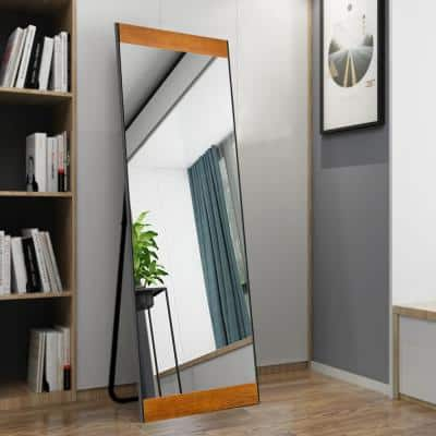 Oversized Natural Wood Hooks Modern Classic Mirror (64 in. H X 21 in. W)