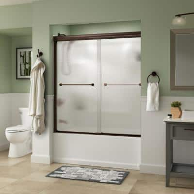 Everly 60 in. x 58-1/8 in. Traditional Semi-Frameless Sliding Bathtub Door in Bronze and 1/4 in. (6mm) Rain Glass