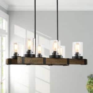 Asben 6-Light Rustic Farmhouse Black Chandelier 2-Row Wood Linear Kitchen Island Chandelier with Seeded Glass Shades