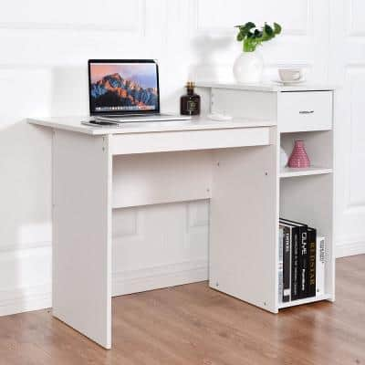 """Product Width 22 in Rectangle White 1 Drawer Computer Desk"""""""