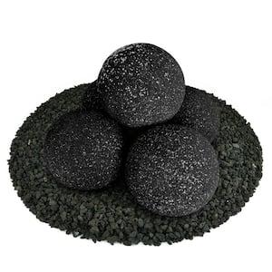 6 in. Set of 5 Ceramic Fire Balls in Midnight Black Speckled