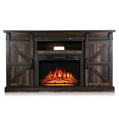 Fireside 48 in. Wooden Electric Fireplace TV Stand in Rustic Brown, with Sliding Barn Door, Entertainment Center