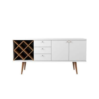Utopia 4-Bottle White Gloss and Maple Cream Wine Rack Sideboard Buffet Stand with 3-Drawers and 2-Shelves