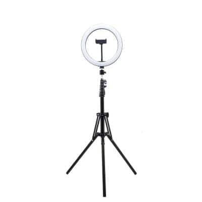 63 in. Black LED Ring Lighting Kit Lamp with Tripod for Live Stream Photo Video Makeup More