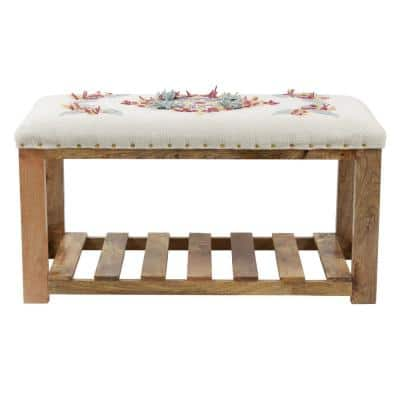 Etta White Upholstered Embroidery Bench