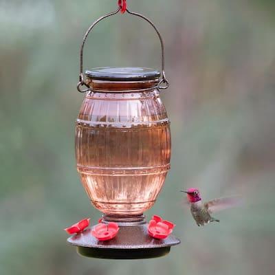 Prohibition Top-Fill Decorative Glass Hummingbird Feeder - 36 oz. Capacity
