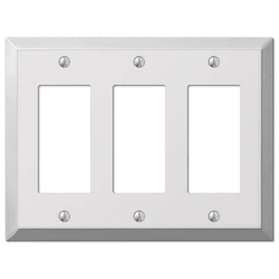 Metallic 3 Gang Rocker Steel Wall Plate - Polished Chrome