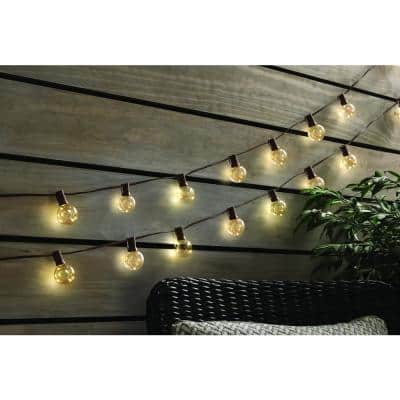 Outdoor/Indoor 12 ft. Plug-In LED G40 Copper Fairy String Light (10-Heads)
