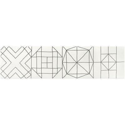 Infinitum Encaustic Black and White 9 in. x 35 in. 9mm Matte Porcelain Floor and Wall Tile (9-Piece/18.18 sq. ft. /Box)