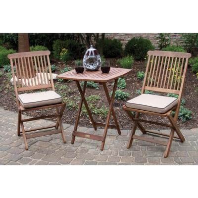 3-Piece Eucalyptus Outdoor Bistro Set with Beige Cushions