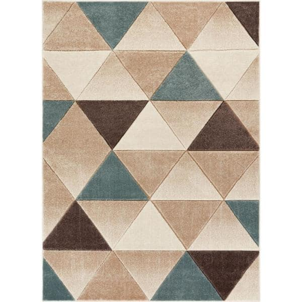 Well Woven Ruby Clark 7 Ft 10 In X 9 Ft 10 In Modern Geometric Triangles Brown Area Rug Ru 58 7 The Home Depot