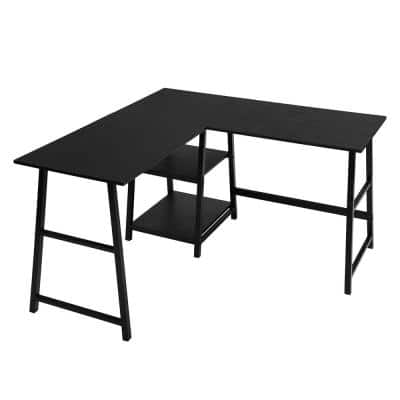44 in. L-Shaped Black Computer Desk with Shelves