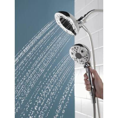 In2ition Two-in-One 5-Spray 6.9 in. Dual Wall Mount Fixed and Handheld H2Okinetic Shower Head in Chrome