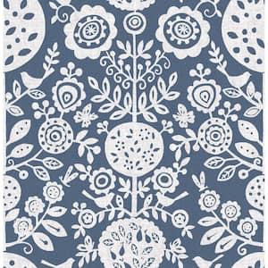 Navy Anya Peel and Stick Wallpaper Sample