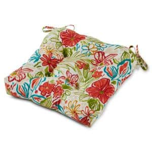 Breeze Floral 20 in. x 20 in. Tufted Square Outdoor Seat Cushion