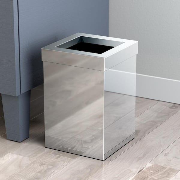Gatco Modern Waste Can Square In Chrome, Modern Bathroom Wastebasket