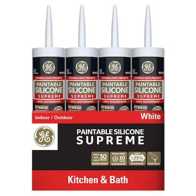 Paintable Silicone Supreme 9.5 oz. White Kitchen and Bath Caulk (12-Pack)