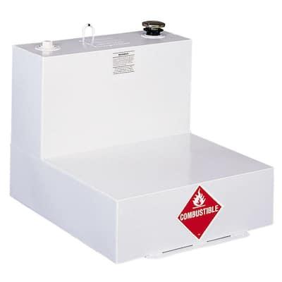 L-Shaped Steel Liquid Transfer Tank in White