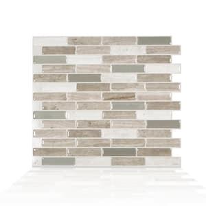 Milenza Vasto 10.20 in. W x 9.00 in. H Beige Peel and Stick Self-Adhesive Mosaic Wall Tile Backsplash (4-Pack)