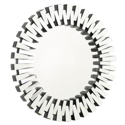 Elaina 36 in. X 36 in. Modern Round Unframed Clear Accent Mirror