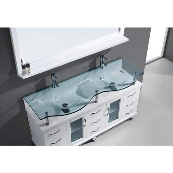 Virtu Usa Vincente Rocco 60 In W Bath Vanity White With Glass Top Aqua Round Basin And Mirror Faucet Md 61 G Whthd The Home Depot