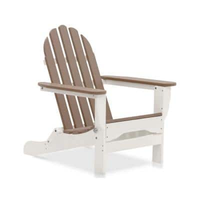 Icon White and Weathered Wood Plastic Folding Adirondack Chair