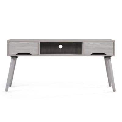 Noble House 47 In Grey Oak Wood Tv Stand With 2 Drawer Fits Tvs Up To 44 In With Cable Management 13232 The Home Depot