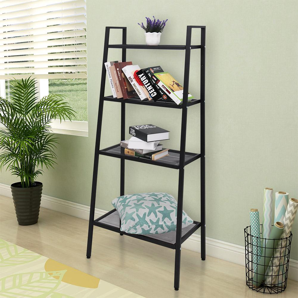 Maypex 58 In Black Matte Metal 4 Shelf Industrial Style Etagere Bookcase With Open Back 300596 The Home Depot