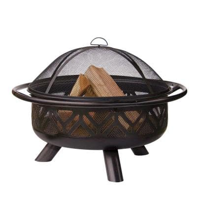30 in. D Oil Rubbed Bronze Finish Geometric Design Wood Burning Fire Pit