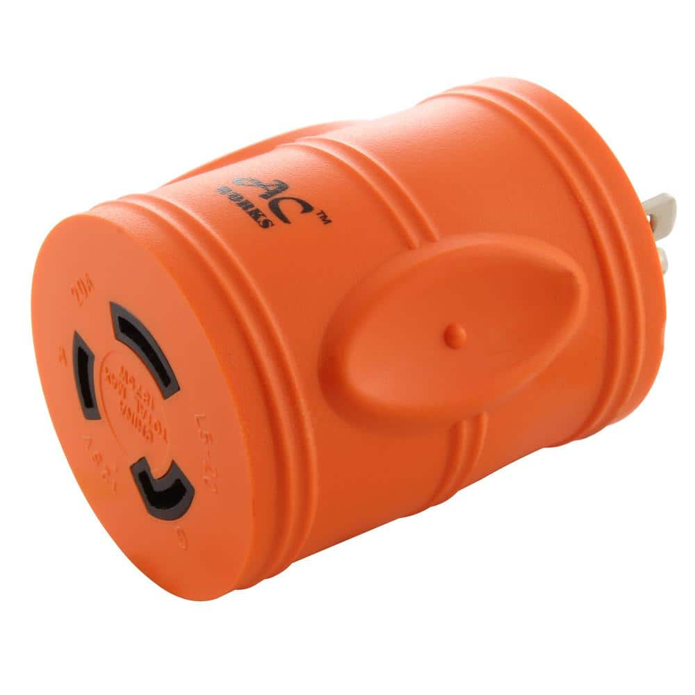 Marvine Shore Power Adapter Household 15Amp Male 5-15P to 20Amp Lock Female L5-20R with LED Indicate