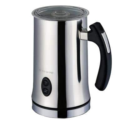 1.25-Cup Chrome Electric Double Wall Stainless Steel Milk Frother, Frothing & Heating Whisks, Espresso Machine Latte