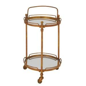 31 in. Brass Metal Traditional Bar Cart