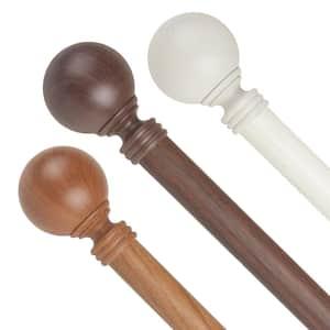 1 inch Adjustable Single Faux Wood Curtain Rod 28-48 inch in Dark Walnut with Globe Finials