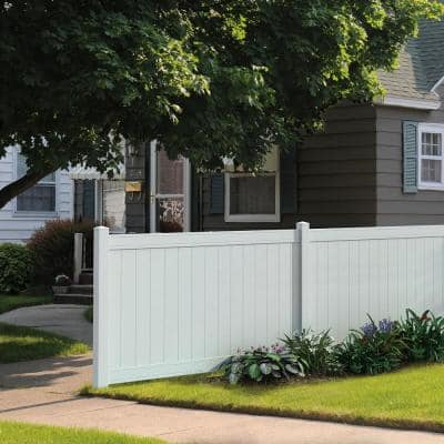 Pro Series 5 in. x 5 in. x 84 in. White Vinyl Woodbridge Routed End Fence Post