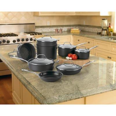 Chef's Classic 14-Piece Hard-Anodized Aluminum Nonstick Cookware Set in Black