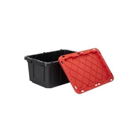 17 Gal. Tough Storage Tote in Black with Red Lid