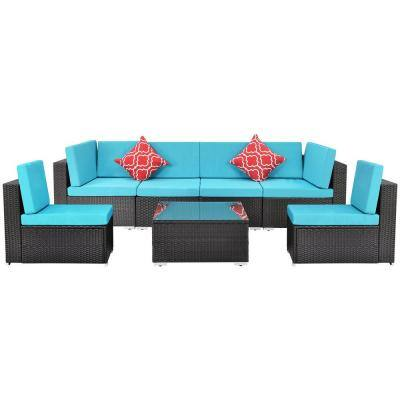 DIRECT WICKER Belle Modern Style Black 7-pcs Outdoor Rattan Wicker Sofa Sectional Set with Blue Cushions
