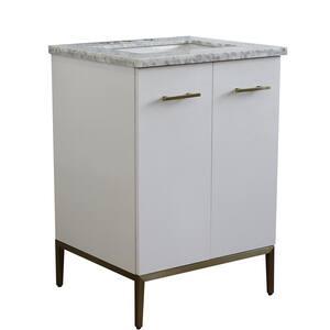 25 in. W x 22 in. D Single Bath Vanity in White with Marble Vanity Top in White Carrara with White Rectangle Basin