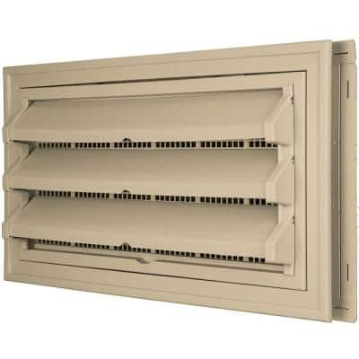 9-3/8 in. x 17-1/2 in. Foundation Vent Kit w/ Trim Ring and Optional Fixed Louvers (Galvanized Screen) #013 Light Almond