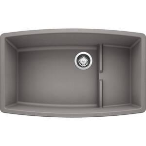 PERFORMA CASCADE Undermount Granite Composite 32 in. Single Bowl Kitchen Sink with Mesh Colander in Metallic Gray