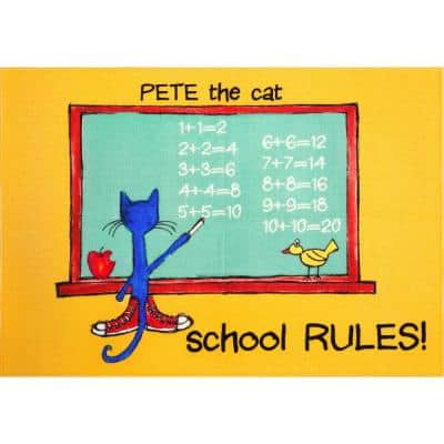 Elementary Green School Rules 6 ft. 6 in. x 9 ft. 5 in. Indoor Area Rug
