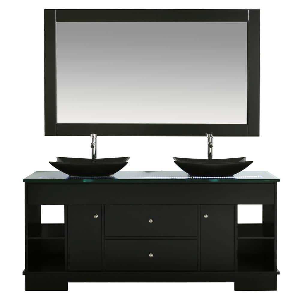Design Element Oasis 72 In W X 22 In D Double Vanity In Espresso With Glass Vanity Top In Clear With Black Basins And Mirror Dec105 72 The Home Depot