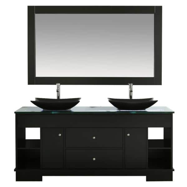 Design Element Oasis 72 In W X 22 D Double Vanity Espresso With Glass Top Clear Black Basins And Mirror Dec105 The Home Depot