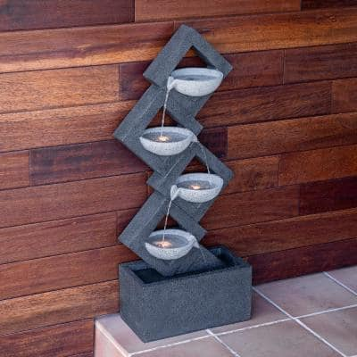 39 in. Tall Indoor/Outdoor Soothing 4-Tier Zen Fountain with LED Lights
