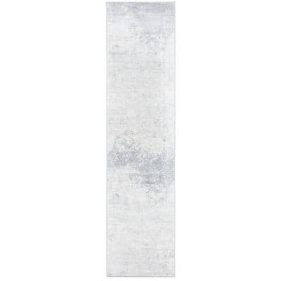 Brentwood Ivory/Gray 2 ft. x 8 ft. Abstract Runner Rug