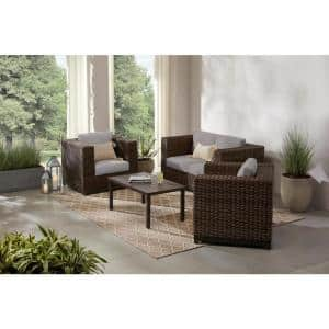Fernlake 4-Piece Taupe Wicker Outdoor Patio Deep Seating Set with CushionGuard Stone Gray Cushions