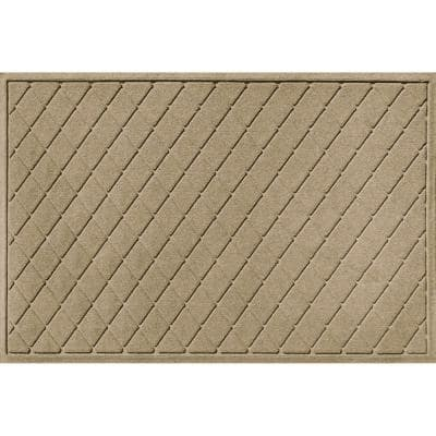 Aqua Shield Argyle Camel 35 in. x 59 in. Recycled Polyester/Rubber Indoor Outdoor Door Mat