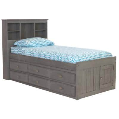Charcoal Gray Series Twin Size Platform Bed Charcoal Gray with 6-Drawers