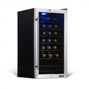 Single Zone 27-Bottle Freestanding Wine Cooler Fridge with Exterior Digital Thermostat and Chrome Racks, Stainless Steel
