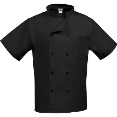 C10PS Unisex LG Black Short Sleeve Classic Chef Coat